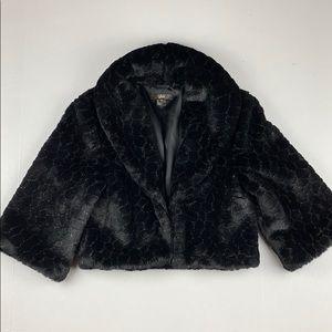 Faux Fur 3/4 black sleeve jacket.